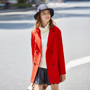 【2件3折价213元】唐狮秋冬装新款外套女式中长款双排扣呢子大衣外套显瘦韩版潮