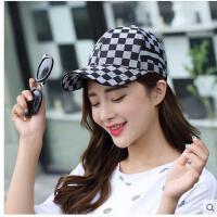 夏天韩版潮时尚格子鸭舌帽平沿嘻哈棒球帽子男女帽遮阳逛街运动帽可礼品卡支付