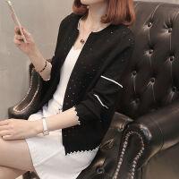 春秋女装韩版针织衫长袖外搭开衫大码毛衣短款小外套
