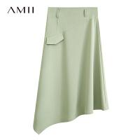 Amii极简工装风通勤不对称半身裙2021秋季新款黑色裙子女A字裙