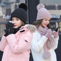 帽子女冬天季围巾保暖手套甜美可爱百搭三件套