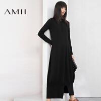 【双十一特价福利款】AMII[极简主义]冬新金属圆环拉链宽松针织连衣裙女装长裙