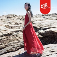 原创沙滩裙海边度假波西米亚长裙V领荷叶边红色性感大露背吊带连衣裙GH032 红色