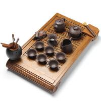 林仕屋  陶瓷功夫茶具红木茶托茶台 整套鸡翅木实木茶盘家用茶具套装FLTZ01