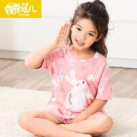 女童睡衣夏季纯棉短袖短裤薄款女孩可爱大童夏款儿童家居服套装