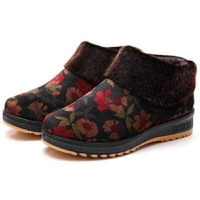 老北京布鞋老年奶奶保暖棉鞋女妈妈老人鞋冬季防滑软底老太太棉鞋