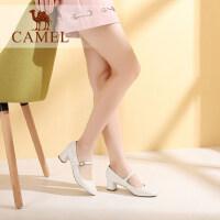 camel骆驼女鞋 春季新款一字扣腕带 优雅复古 浅口单鞋