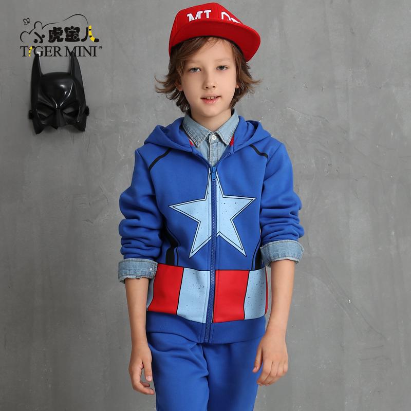 男童春秋套装 儿童开衫两件套中大童加绒秋装小虎宝儿童装卡通款