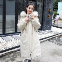 棉衣女中长款过膝外套2018冬装新款韩版加厚大毛领棉袄冬天潮 白色 M