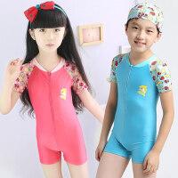 新款男孩女孩泳装儿童泳衣 小童冲浪温泉平角泳衣 男童女童宝宝连体泳衣