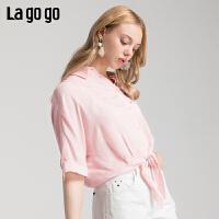 Lgogo/拉谷谷2019新款宽松房领蝙蝠袖衬衫女IACC335C26