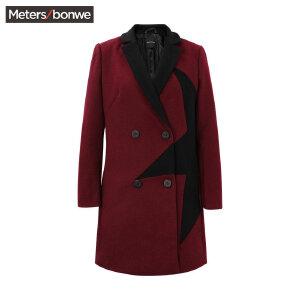 【3件2.5折到手价:56.25】美特斯邦威毛呢外套女士冬季中长款时尚修身呢子大衣韩版女装潮