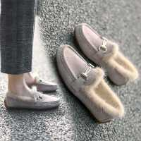 豆豆鞋女2020冬季百搭平底毛毛鞋外穿保暖孕妇鞋加绒厚底棉鞋