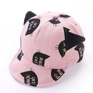 Yinbeler婴儿帽子棉质春夏秋宝宝猫耳朵帽子男童鸭舌帽6-12-18个月女宝宝棒球帽