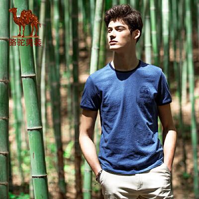 骆驼男装 夏季新品时尚青年绣标花纱纯棉日常休闲短袖T恤衫男