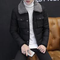 棉衣男毛领修身韩版短款翻领秋冬季休闲夹克潮流青年外套男装 黑色 毛领棉衣