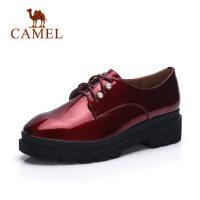 camel 骆驼女鞋春季新款高跟英伦风系带厚底松糕鞋浅口增高平底单鞋
