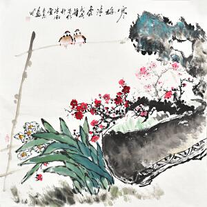 当代画家周丹青四尺斗方花鸟画gh02907