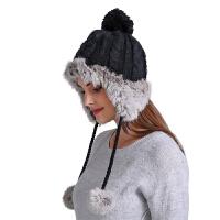 新款手工兔毛毛线帽子女冬天韩版潮可爱百搭真毛球护耳针织贝雷帽