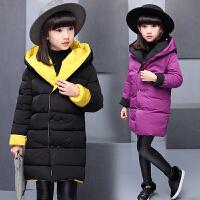 女童冬装棉衣外套长款女孩棉两面穿