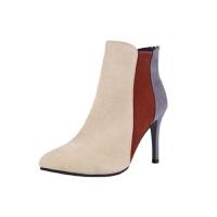 尖头细跟鞋子女秋冬猫跟裸靴拼色马丁靴女踝靴高跟单靴小跟短靴女 9厘米米白色 34