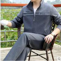 男士开衫时尚立领简约长袖中老年休闲运动服大码中年宽松运动套装