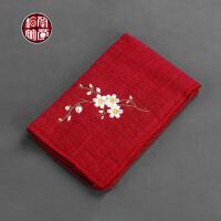 茶道用品棉麻刺绣布艺樱花茶巾艳红日式吸水茶具配件茶台洗杯布垫