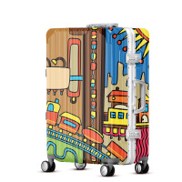 2018新款拉杆箱女城市涂鸦20寸 登机箱 扁平风行李箱万向轮
