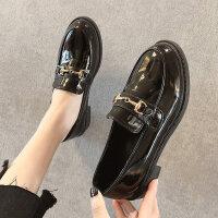 英伦风黑色ins小皮鞋女秋冬季新款平底一脚蹬女士工作鞋单鞋 黑色单里 35