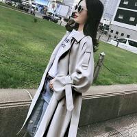 风衣女秋韩版时尚中长款原宿风矮个子双排扣显瘦秋冬风衣外套