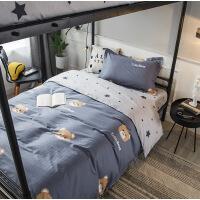 全棉宽幅三件套学生用纯棉斜纹印花格子卡通套件 0.9-1.2米床用规格