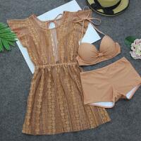 性感泳衣女平角比基尼三件套网眼罩衫温泉韩国小香风小胸聚拢泳装