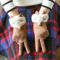 手套女冬保暖加绒可爱卡通户外骑行触摸屏女士
