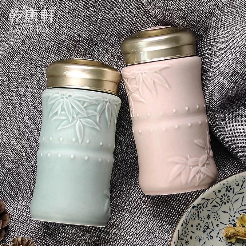 乾唐轩活瓷杯 小竹报平安随身杯 单层370ml创意便携陶瓷水杯子官方直售 高档礼盒包装 送人己用两相宜