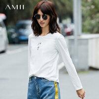 Amii[极简主义] 百搭基本款 圆领T恤女秋季新款印花棉氨上衣