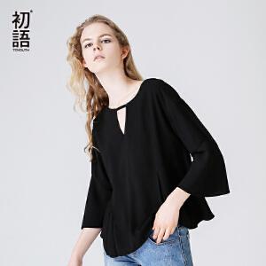 初语秋季新款 圆领V镂空喇叭阔袖雪纺衫