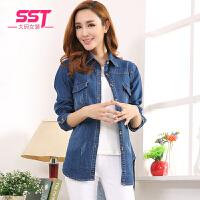 2017春季新款韩版修身牛仔衣衬衫女长袖大码女装显瘦开衫薄款外套fr836