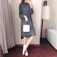卡茗语2017秋冬新款套装女韩版时尚雪纺连衣裙大码气质毛衣中长款两件套