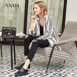 【到手价:252.9元】Amii极简时尚港味chic西装2019春季新翻驳领条纹撞色棉麻混纺上衣