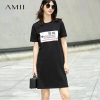 Amii[极简主义]2018夏装新款百搭休闲字母印花中长T恤裙连衣裙女