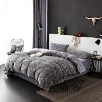当当优品暖绒四件套 抗静电加厚细密保暖床品 双人1.5米床 灰蓝