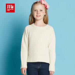 jjlkids季季乐春秋新款纯色甜美女童毛衣打底衫百搭儿童针织衫GQM61110