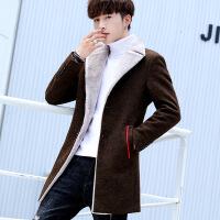 冬装男外套2018新款韩版加绒加厚风衣男中长款秋冬季保暖毛呢大衣
