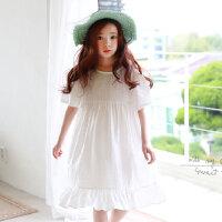 新品夏装童装韩版女童连衣裙短袖中大童宽松版童裙公主裙