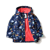 童装秋装男童加绒风衣防风外套 儿童宝宝保暖中长夹克冲锋衣