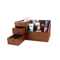 实木质抽屉式化妆品收纳盒大号创意桌面收纳盒收纳箱