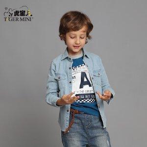 男童衬衫长袖春秋2017新款 童装纯棉儿童衬衣中大童牛仔男孩上衣