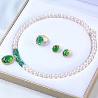 淡水珍珠项链配玛瑙戒指耳钉三件套装送妈妈长辈生日礼物
