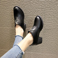 韩版前拉链靴子女百搭粗跟马丁靴女中筒加绒加厚雪地靴皮面短靴女