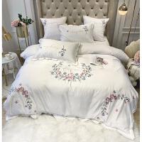 床上用品四件套冰丝欧式少女心丝滑绸缎全棉纯棉床单被套 白色【A版丝 B版棉】 2.0m宽床(适合220*240cm被芯
